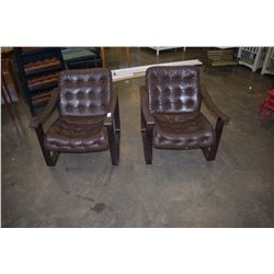PAIR OF LEATHER BENTWOOD CHAIRS