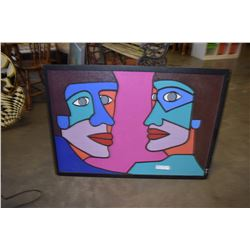 """LARGE ABSTRACT """"FACES"""" PAINTING"""