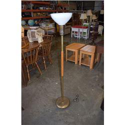MID CENTURY BRASS AND TEAK FLOOR LAMP