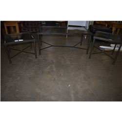 METAL GLASS TOP COFFEE TABLE AND 2 END TABLES
