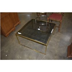 BRASS FRAME COFFEE TABLE W/ GLASS TOP