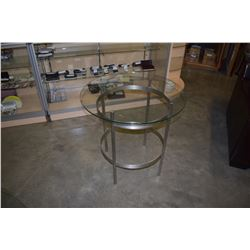 2 ROUND GLASSTOP METAL BASE TABLES