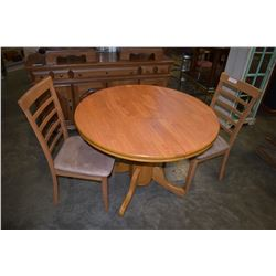 ROUND DINING TABLE WITH JACK KNIFE LEAF AND TWO CHAIRS