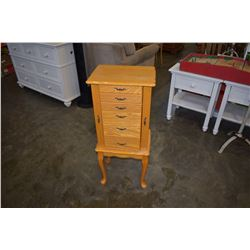 8 DRAWER PINE STAND UP JEWELRY BOX WITH CONTENTS