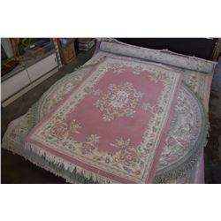 PINK FRINGED AREA CARPET - APPROX 4FT