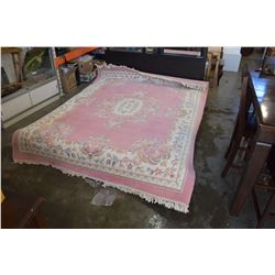 PINK FRINGED AREA CARPET - APPROX 7FT