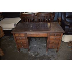 MAHOGANY 9 DRAWER DESK
