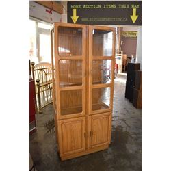 2 TIER WOOD AND GLASS CHINA CABINET