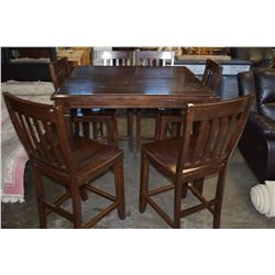 WOODEN PUB TABLE WITH 6 CHAIRS