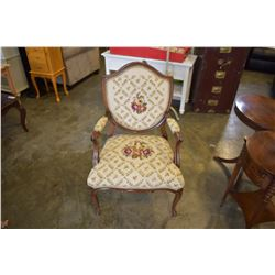 NEEDLE POINT QUEENANNE CHAIR