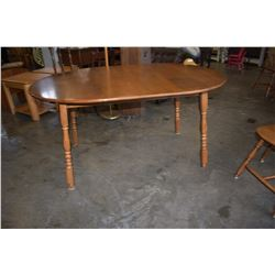 ROUND MAPLE DINING TABLE W/ LEAF AND 6 CHAIRS