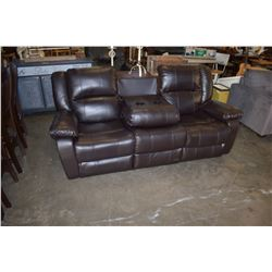 LEATHER 3 SEATER SOFA WITH POP DOWN CUP HOLDERS