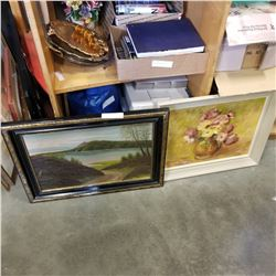 2 PAINTINGS ON WOOD SIGNED THE LAKE ROAD AND CENTER PIECE BY A SIMPSON