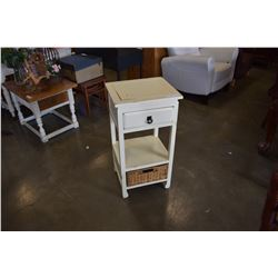 WHITE END TABLE W/ WICKER DRAWER