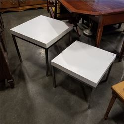 2 WHITE AND CHROME SQUARE END TABLES
