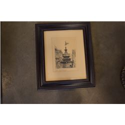 EDWARD J CHERRY ORIGINAL ETCHING SIGNED PICADILLY CIRCUS