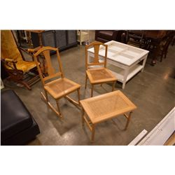 CANE SEAT VINTAGE ROCKER CHAIR AND FOOT STOOL
