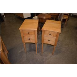 PAIR OF VINTAGE MAPLE 2 DRAWER NIGHT STANDS