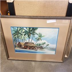 BEACH MARKET W/ FIGURES WATERCOLOR SIGNED R.I. KELSEY