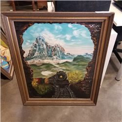 OIL ON CANVAS TRAIN PICTURE IN WOOD FRAME