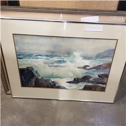 WAVES CRASHING ON THE SHORE WATERCOLOR SIGNED 1981
