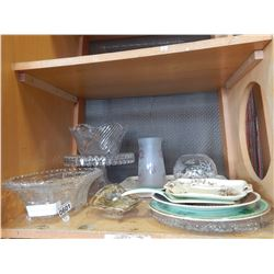 SHELF LOT OF CRYSTAL SERVING PIECES, PLATTERS, AND VASES