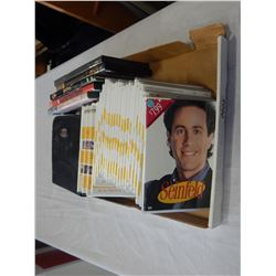 BOX LOT OF DVDS MOSTLY SEINFELD AND 2 LANGUAGE CDS