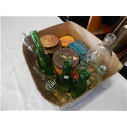 BOX OF BOTTLES AND TABACCO TINS