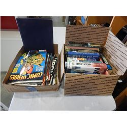 BOX OF COMICS, TOY MAGAZINES, AND HARD COVER BOOKS