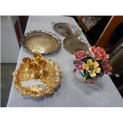 LOT OF SERVING TRAYS, METAL GLASSES, AND CERAMIC FLORAL