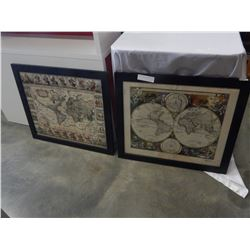 2 FRAMED GEOGRAPHICA PRINTS