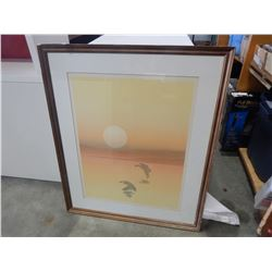 SIGNED WATER COLOUR PICTURE IN WOOD FRAME BY HUNT