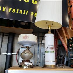 2 VINTAGE GLASS TABLE LAMPS