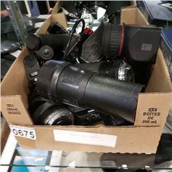BOX OF CAMERAS AND LENSES