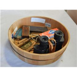 WOODEN BOX W/ BINOCULARS AND VINTAGE ITEMS