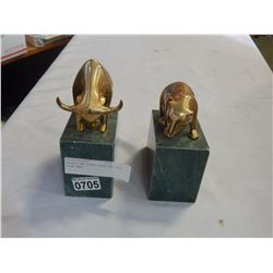 MARBLE AND BRASS BEAR AND BULL BOOK ENDS