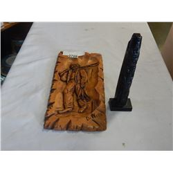 HAND CARVED WOOD PLAQUE BY D. NIRO