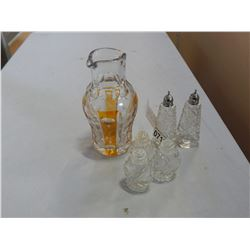 YELLOW CUT CRYSTAL PITCHER, AND CRYSTAL SALT AND PEPPER