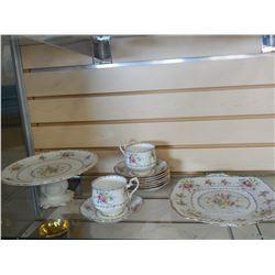 2 ROYAL ALBERT PETITPOINT CAKE PLATES, CUPS, AND SAUCERS
