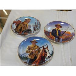 3 FRANKLIN MINT LIMITED EDITION COLLECTOR PLATES JOHN WAYNE, PINA RIDGE, HERO OF THE WEST AND HIGH C