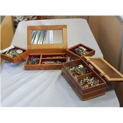 2 WOODEN JEWELLERY BOXES W/ CONTENTS