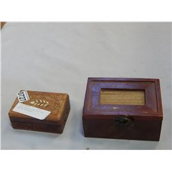 2 SMALL WOODEN JEWELLERY BOX BOXES W/ NECKLACES