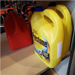 LOT OF ANTIFREEZE AND GAS CAN