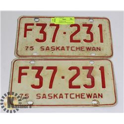 1975 MATCHING PAIR SASKATCHEWAN LICENSE PLATES