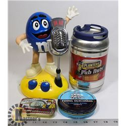 FLAT OF M&M RADIO AND VARIOUS TINS.