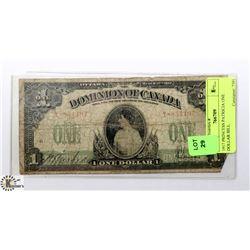 1917 DOMINION OF CANADA PRINCESS PATRICIA $1 BILL.