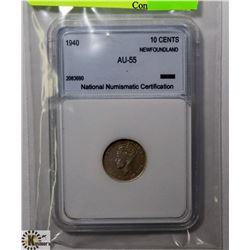 1940 NEWFOUNDLAND 10 CENT COIN.