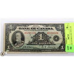 1935 BANK OF CANADA KING GEORGE ONE DOLLAR BILL.