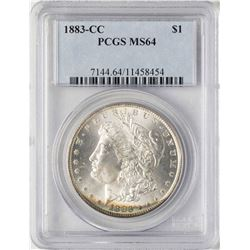 1883-CC $1 Morgan Silver Dollar Coin PCGS MS64 Amazing Toning