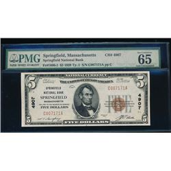 1929 $5 Springfield National Bank Note PMG 65EPQ